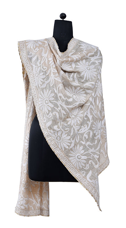 Kantha Dupatta: Floral Jaal, Beaded /033