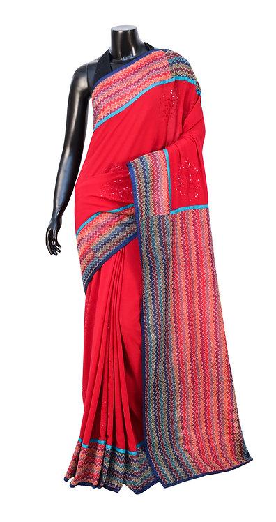 Kantha Saree: Zigzag with Sequins /MKC-99