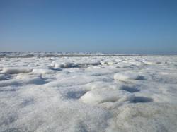 Amrum im Winter mit Schnee und Meer