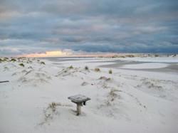 Amrum im Winter mit Dünen und Wolken