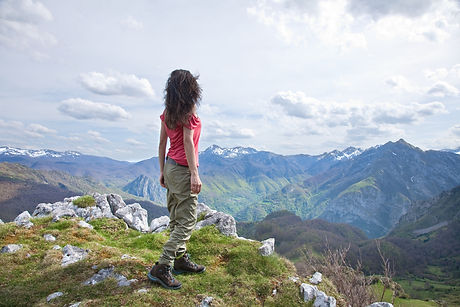 woman trekking at Picos de Europa mounta