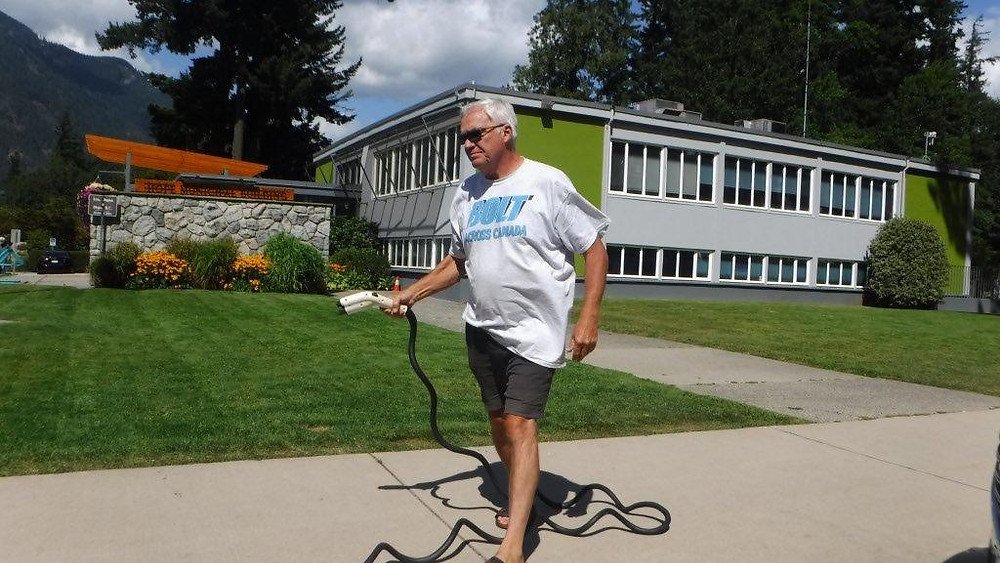 Buddy plugging in for a charge in Hope BC
