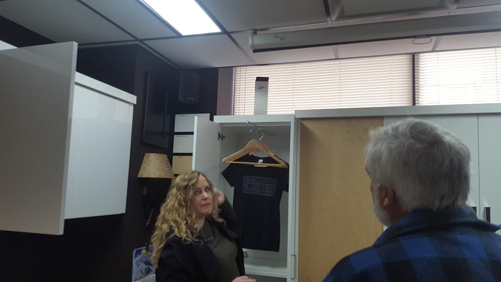 Erin Ranger showing Buddy clothing storage