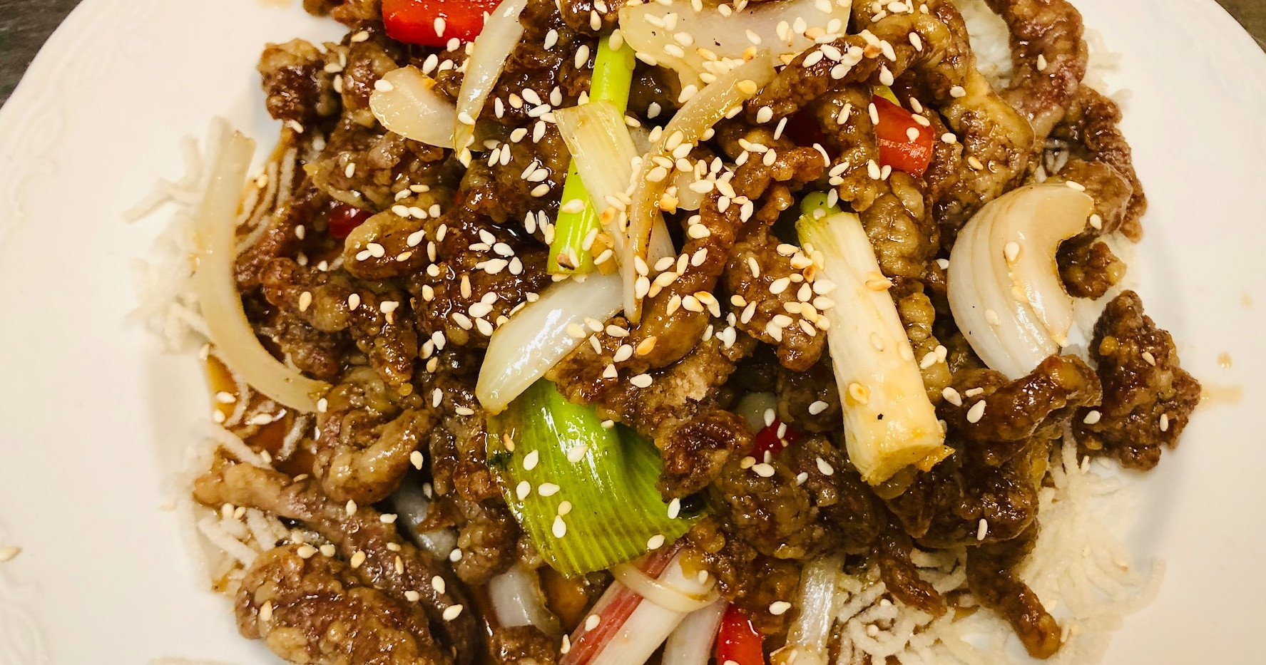 Rainbow Beef in Peking Sauce
