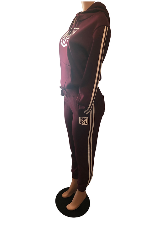 Women Burgundy and White Jogger