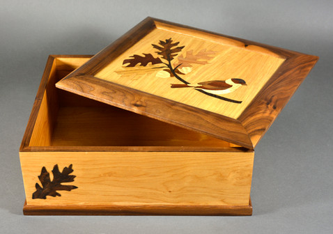 Perched Sparrow Marquetry Box