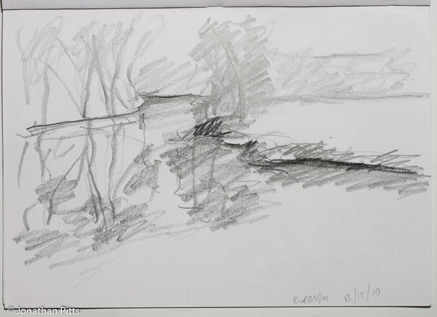 Jonathan Pitts Sketch of the River Avon in Evesham