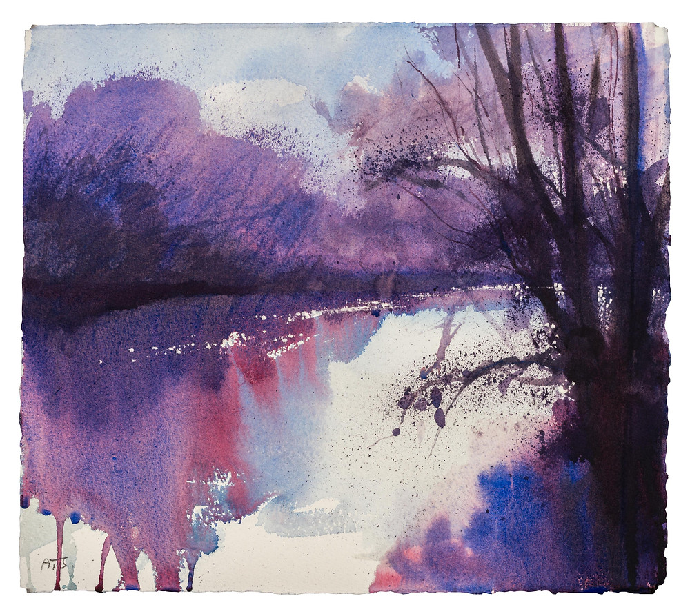 Rest Awhile and Enjoy this Farmed Landscape, River Thames near Marlow. Watercolour painting by Jonathan Pitts