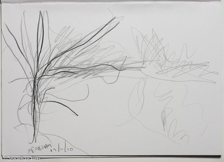 Jonathan Pitts Sketch of the River Avon in Pensham