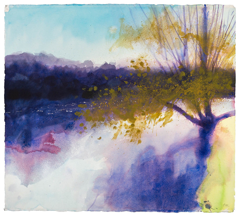 Ochre Trees in the Breeze, River Thames . Watercolour painting by Jonathan Pitts