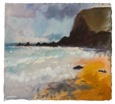 Jonathan Pitts often makes paintings of skies. This purple sky over Duckpool Bay was made plein air. Cornish art