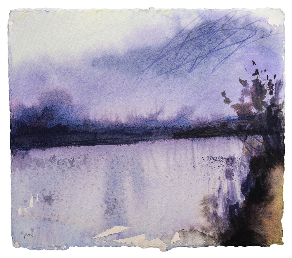 "Wide Thames, scent of fires in the air, Aston. Watercolour on paper 10"" x 11"""