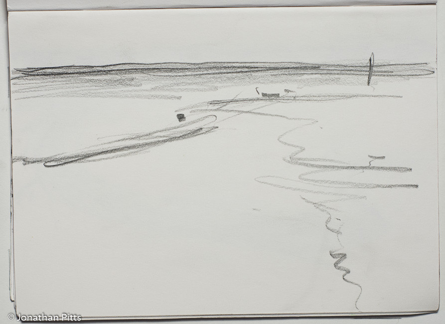 Jonathan Pitts Sketch of East Head. Jonathan has won the Sunday Times Watercolour competition 2nd prize.