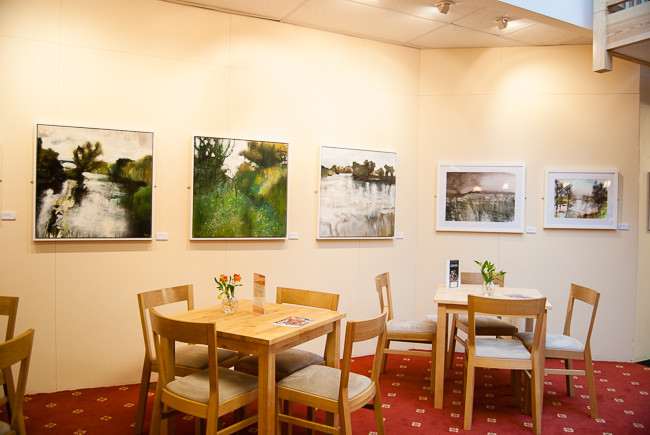 Beside the Avon an exhibition of mixed media plein air paintings by Jonathan Pitts on display at Pershore Arts Centre