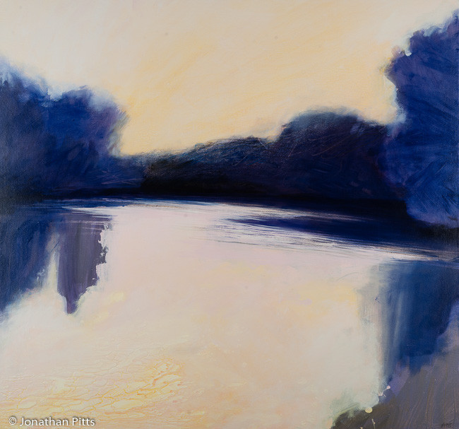 Sunrise R.Thames L140. Mixed media on canvas, 75 cm x 80 cm. By Jonathan Pitts, The Stour Gallery, The Cotswolds.