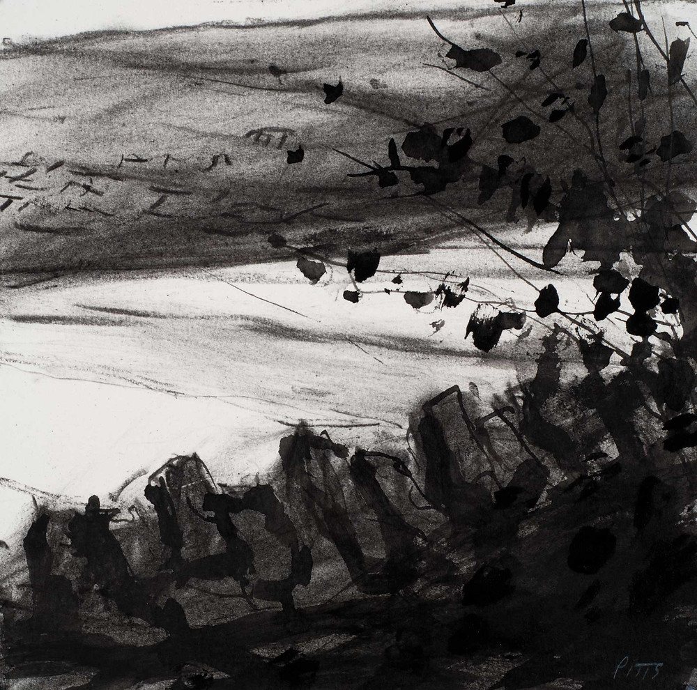Over a dry stone wall towards Chipping Campden. Pencil on paper. 19cm x 19cm. Jonathan Pitts winner of the 2nd prize at the Sunday Times Watercolour competition.