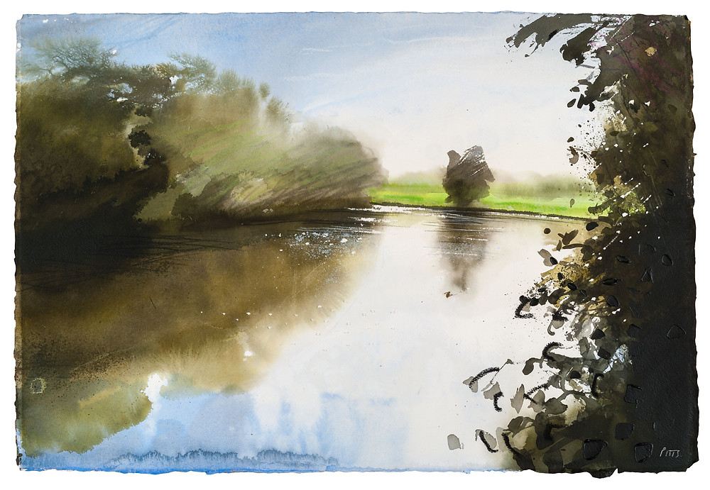Strong Sun and Wind, Runnymede River ThamesOver the Winter and Spring months I have been busily making new pictures out on the banks of the river Thames.Over the Winter and Spring months I have been busily making new pictures out on the banks of the river Thames. Watercolour Painting by Jonathan Pitts.