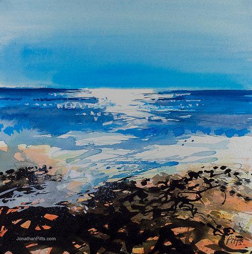 Sunny morning at Birling Gap, original coastal art.