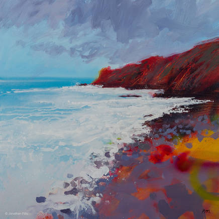 British contemporary painting on canvas, expressive art made with acrylic paint spray, by Jonathan Pitts, Cornish art, paintings of skies