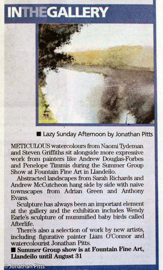 Press article for the Summer Group Show 2012 at Fountain Fine Art. Mixed media plein air painting, Lazy Sunday Afternoon, by Jonathan Pitts