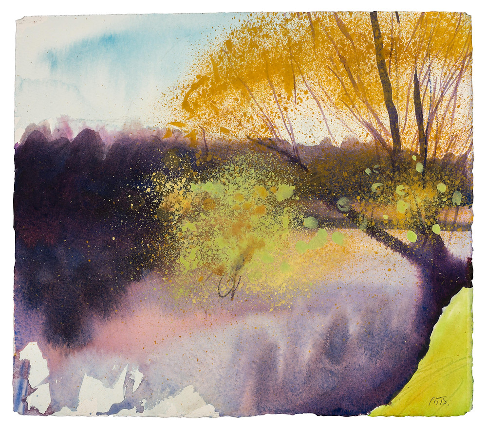 A Nice Day to Walk the Thames Path, River Thames near MArlow. Watercolour painting by Jonathan Pitts