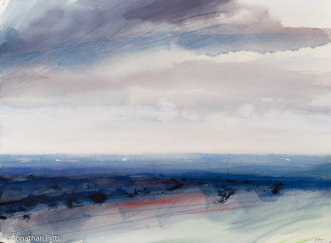 Morning Runnymede L129. Mixed media on paper, 28.5 cm x 57.5 cm. By Jonathan Pitts, the Stour Gallery the Cotswolds.
