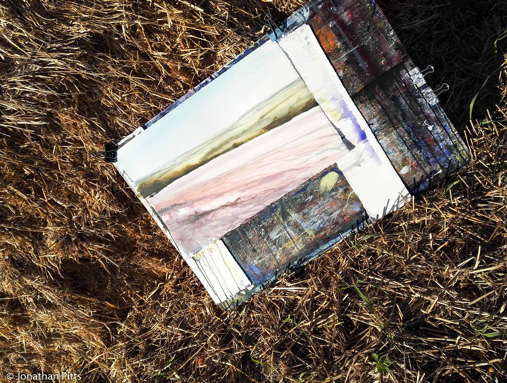 Behind a haystack, Plein air watercolour, Jonathan Pitts Sunday Times Watercolour 2nd prize winner.
