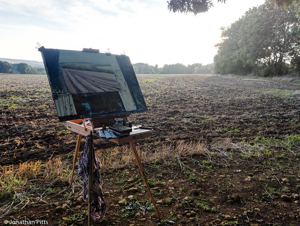 Sunset in a ploughed field. Plein air watercolour, Jonathan Pitts Sunday Times Watercolour 2nd prize winner.