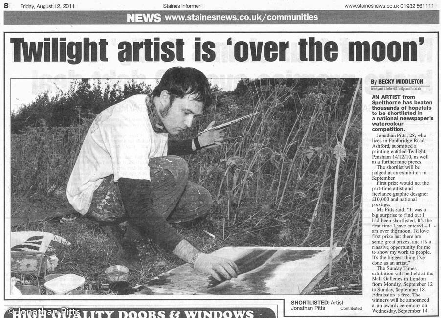 Twilight artist is over the moon. Article written by Becky Middleton and appeared in the 12/08/11 edition of the Staines informer, published by Surrey Herald & News. Press article about Jonathan Pitts.