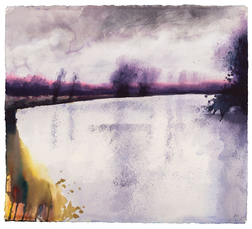 Dark Clouds Cover this Pool of Light, River Thames near Marlow. Watercolour painting by Jonathan Pitts