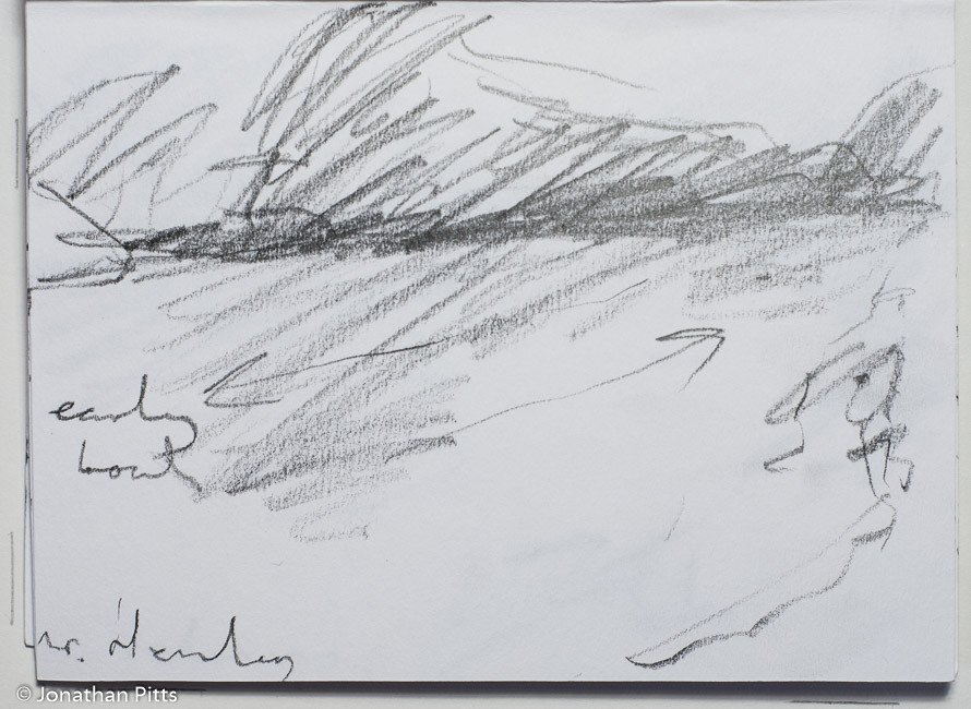 Jonathan Pitts Sketch of the River Thames. Jonathan has won the Sunday Times Watercolour competition 2nd prize.