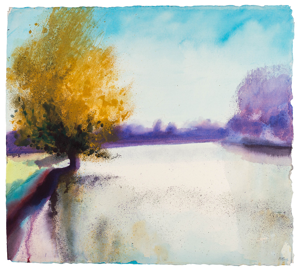 Strong Sun, Gentle River, River Thames near Marlow. Watercolour painting by Jonathan Pitts