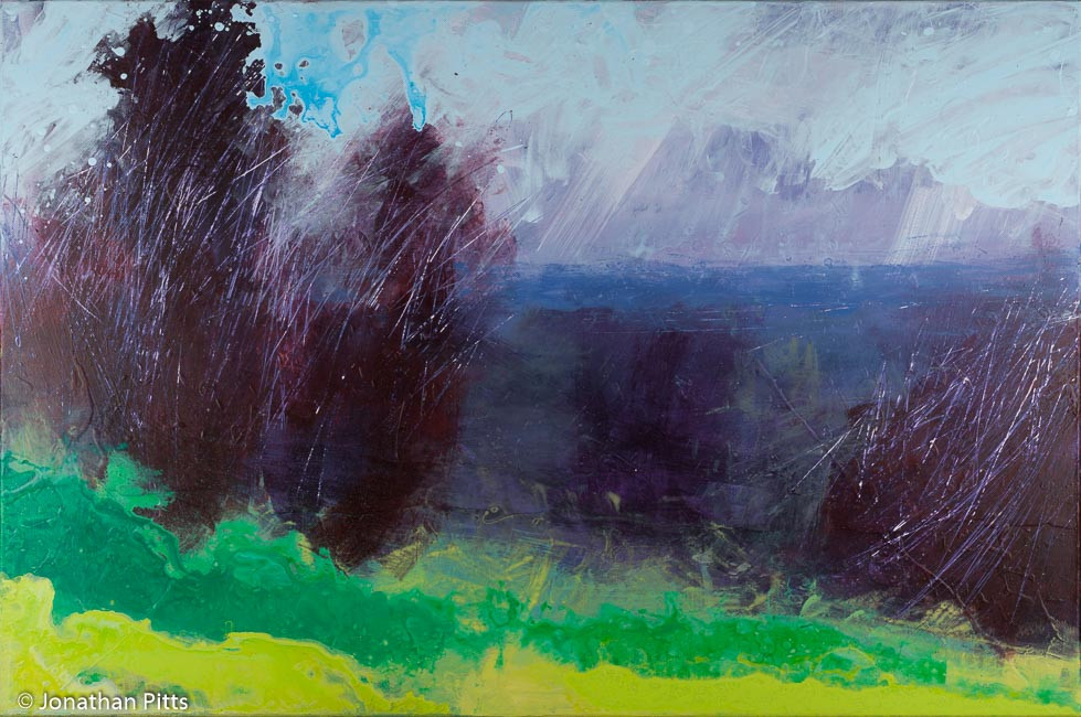 Sky Arts Landscape Artist of the Year 2015 at the National Trust Waddesdon Manor. Mixed media painting by Jonathan Pitts