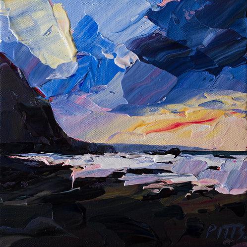 Duckpool Evening, Bude - An acrylic on canvas painting.