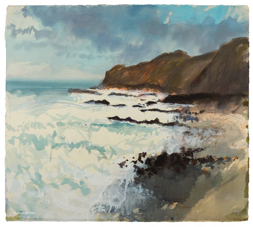 Plein air art on watercolour paper, an expressive painting from the bude to northcott mouth walk by Jonathan Pitts, Cornish art.