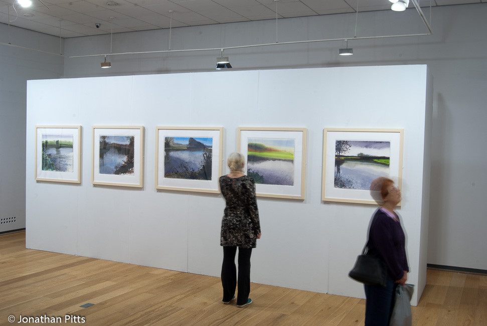 Jonathan Pitts paintings on display in the short listed artists room at the Sunday Times Watercolour Competition 2011 at the Mall Galleries