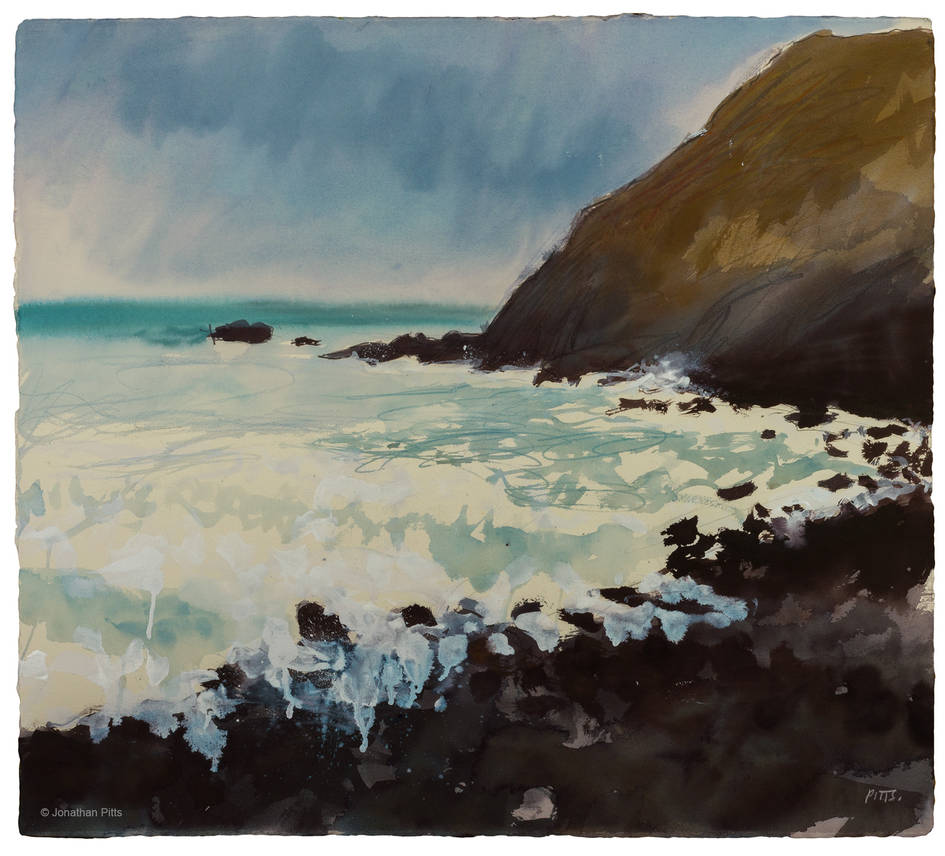 Jonathan Pitts was painting dramatic clouds in a mixed media acrylic painting using watercolor paint and acrylic paint, , Cornish art