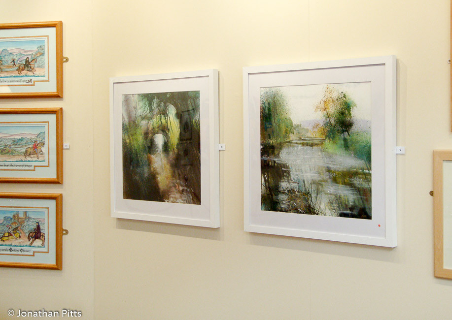My paintings on display at the Innate Ability 3 open exhibition held in 2007 at the Number 8 Gallery in Pershore. This was the first time that I exhibited my plein air landscape paintings. These two paintings were made on the banks of the River Avon in Worcestershire. Jonathan Pitts