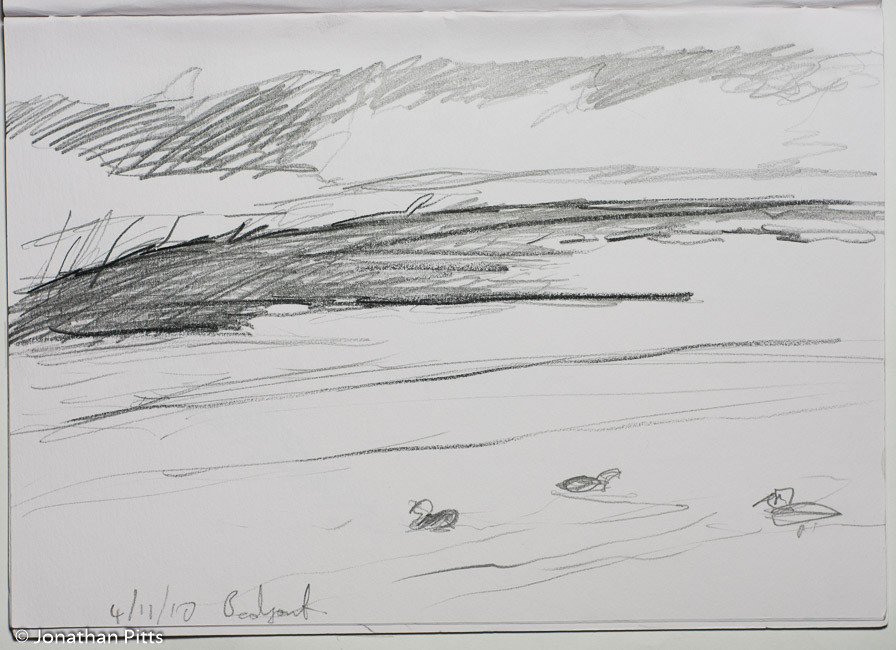 Jonathan Pitts Sketch of Bedfont Lakes in Surrey