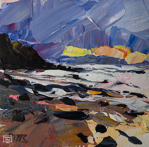Storm and Sunset, Northcott, Cornwall, an original painting for sale.