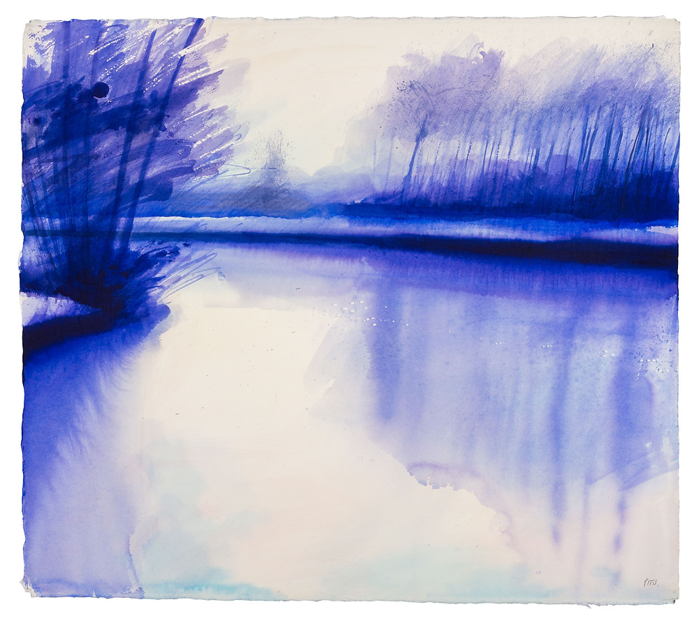 Early Morning Feeling Chilly in the Wind, River Thames n. Watercolour painting by Jonathan Pitts
