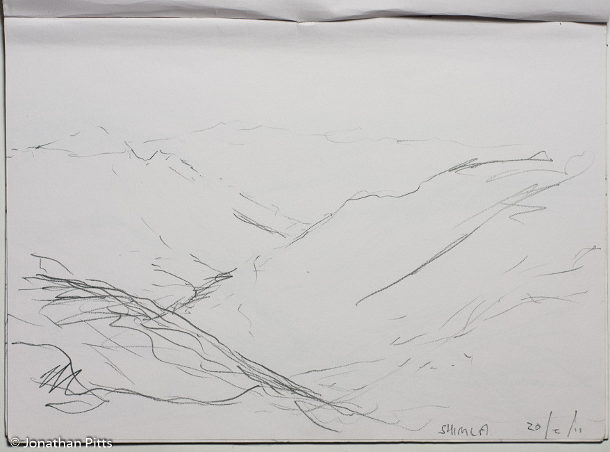 Jonathan Pitts pencil sketch from Shimla, India