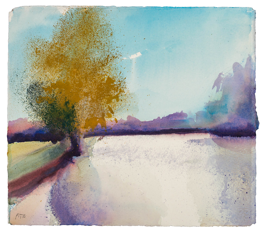 Taking Shade I Look Downstream, River Thames near Marlow. Watercolour painting by Jonathan Pitts