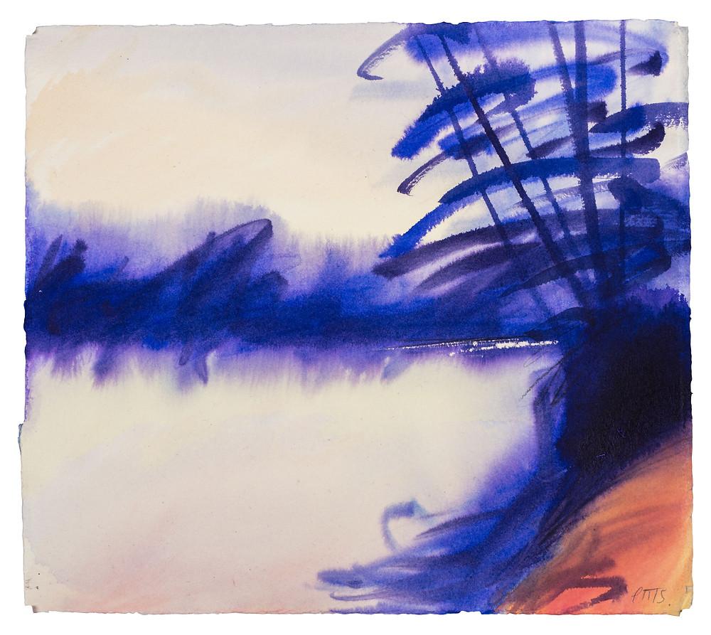 Thames Morning no.2 Watercolour by Jonathan Pitts