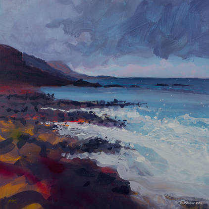 High tide at Northcott Mouth. Expressive plein air art on canvas of a Cornish beach by Jonathan Pitts. Cornish art, acrylic paint.