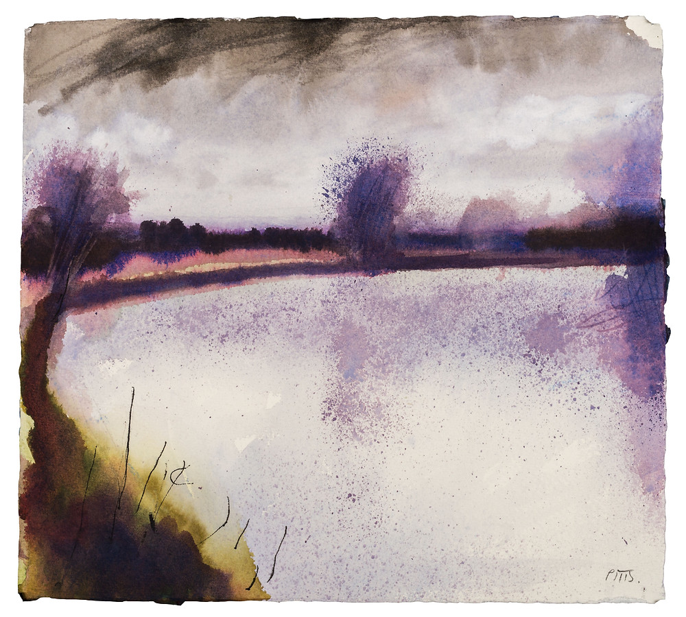 Wind Picks Up, River Thames near Marlow. Watercolour painting by Jonathan Pitts