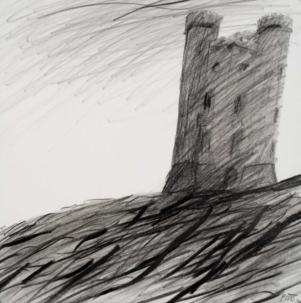 Broadway Tower. Pencil on paper. 19cm x 19cm. Jonathan Pitts winner of the 2nd prize at the Sunday Times Watercolour competition.