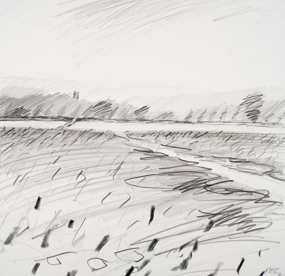 Chipping Campden in the distance. Pencil on paper. 19cm x 19cm. Jonathan Pitts winner of the 2nd prize at the Sunday Times Watercolour competition.