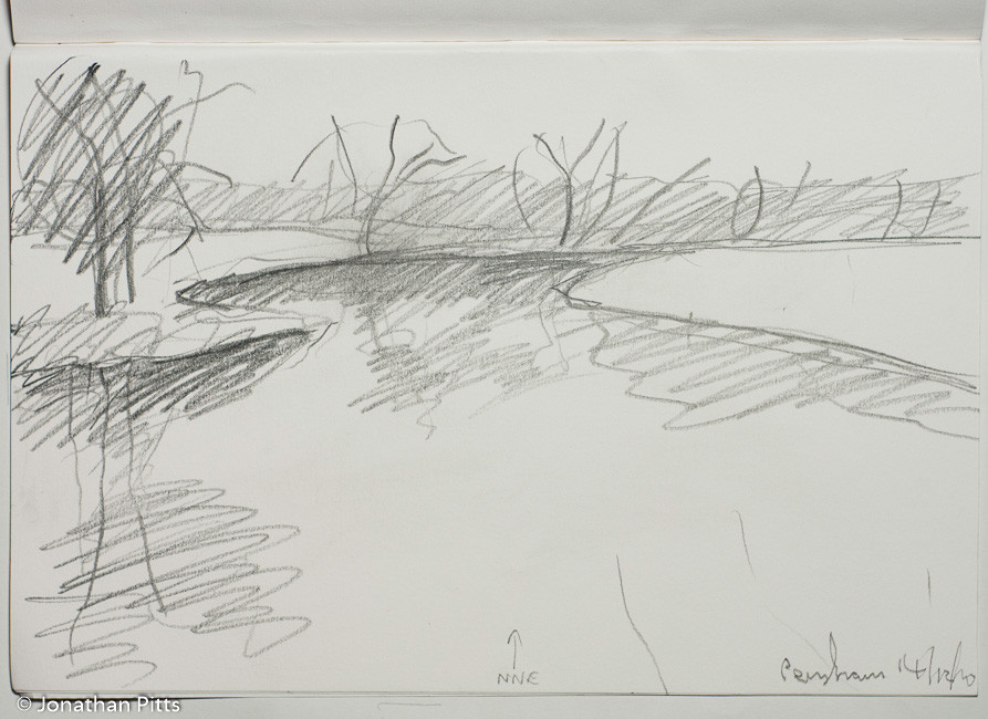 Jonathan Pitts Sketch of the River Avon in Worcestershire