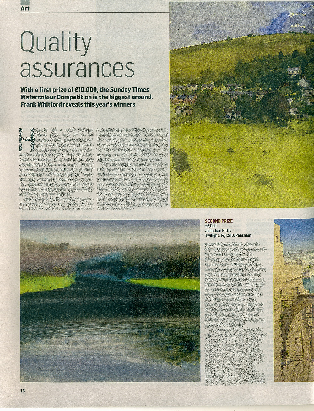 My painting Twilight, Pensham, 14/12/10, as it appeared on page 16 in the Culture Magazine supplement on 28th august 2011 as part of the Sunday Times newspaper. The article was written by Frank Whitford. I do not own copyright for this content.